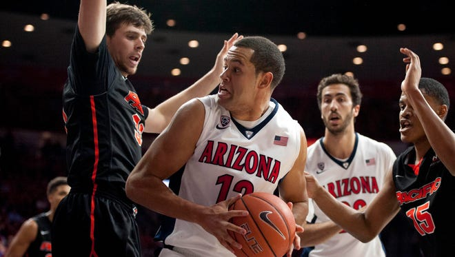 Nov. 13, 2015; Tucson; Arizona Wildcats forward Ryan Anderson (12) moves to the basket as he is defended by Pacific Tigers forward Ilias Theodorou during the second half at McKale Center. Arizona won 79-61.