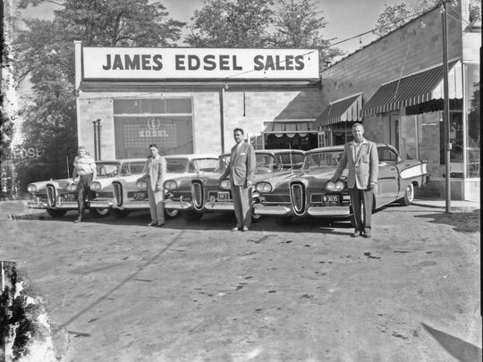 By the late 1950s, vehicles had started to change dramatically. Here's a photo of the first four customers to buy an Edsel at James Edsel Sales on Memorial Drive in September 1957. The vehicle was produced for only three years.