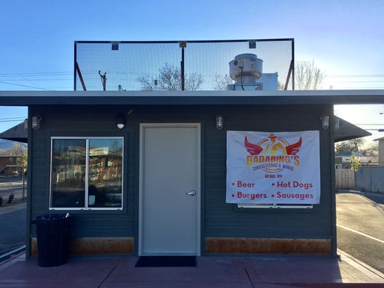 Badabing's, a new burger and wings place in Midtown, occupies the office of a former trailer sales lot.