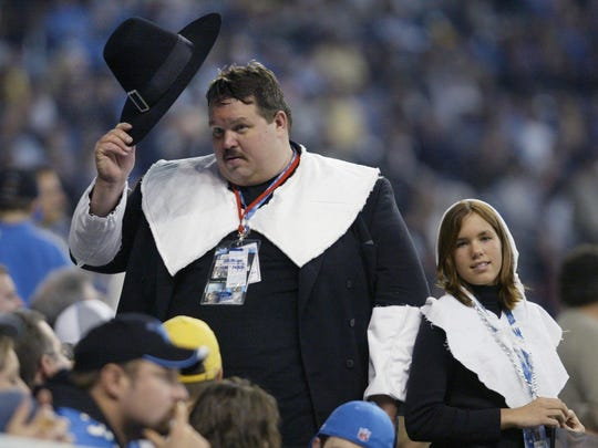 Lions superfan Mark Mullins dresses as a pilgrim every Thanksgiving.
