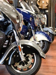 Indian motorcycles lined up on display Thursday, Nov. 17, at Mies Outland in Watkins.