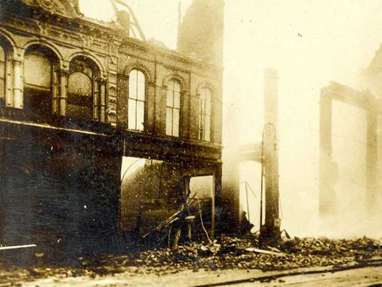 The aftermath of a fire that destroyed the Fendrich
