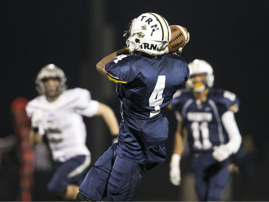 Toms River North's Darrion Carrington scores a touchdown.  Howell vs Toms River North featured in the NJSIAA South Group V semifinal football game. Toms River, NJ Friday, November 18, 2016. @dhoodhood