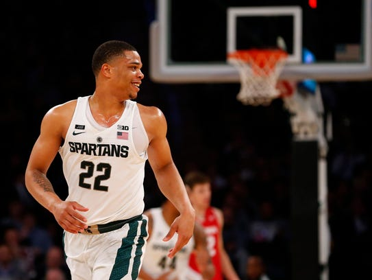 Michigan State Spartans guard Miles Bridges (22) smiles