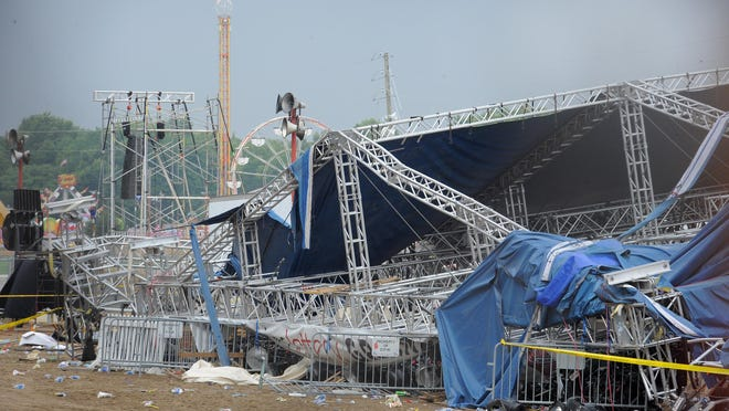 A stage at the State Fairgrounds collapsed during a sudden storm before a Sugarland concert Aug. 13, 2011. The disaster killed seven people and injured more than 50.