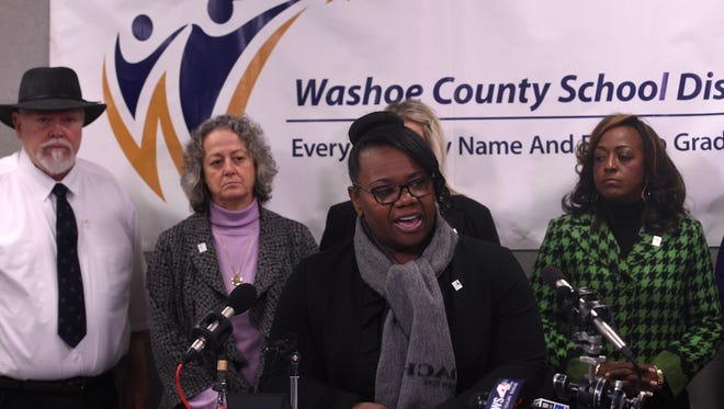 Washoe County School District Superintendent Traci Davis speaks during a press conference on Dec. 8, 2016.