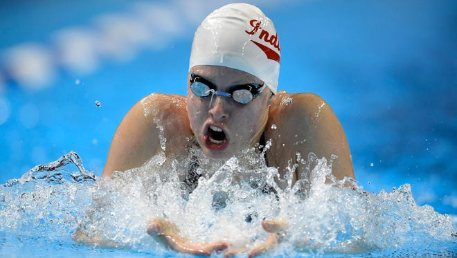 Lilly King swims in the women's 200-meter breaststroke final at the U.S. Olympic swimming trials, Friday, July 1, 2016, in Omaha, Neb. King won the race.