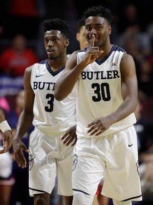 Butler's Kelan Martin gestures after a play against Arizona during the second half.