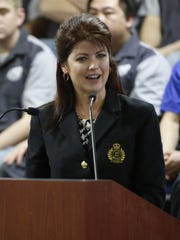 Wisconsin Lt. Gov. Rebecca Kleefisch addresses the students and staff of Lakeshore Technical College during the opening of its new Advanced Automotive Technology Center March 29 in Cleveland.