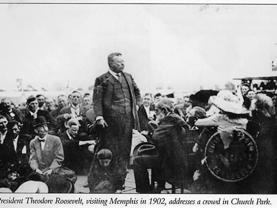 6. President Theodore Roosevelt speaking at Robert Reed Church's park, 1902