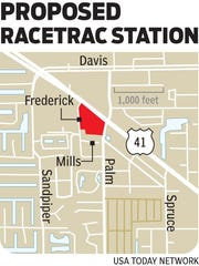 The proposed location of the Racetrac station in East Naples.