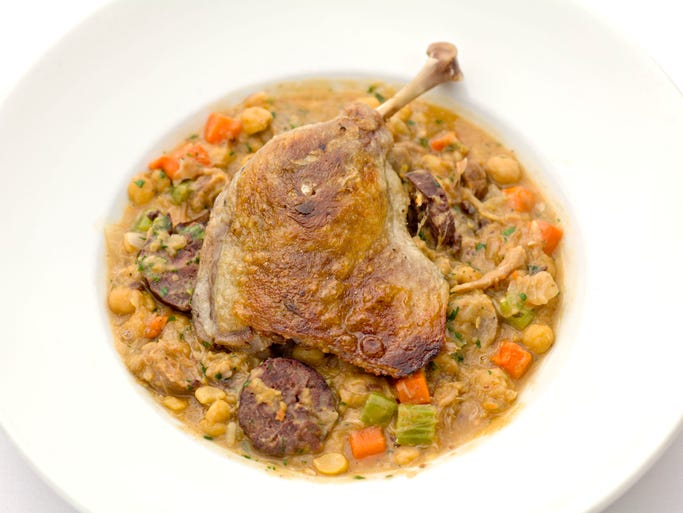 The chickpea cassoulet with duck confit from Petite Maison in Scottsdale.