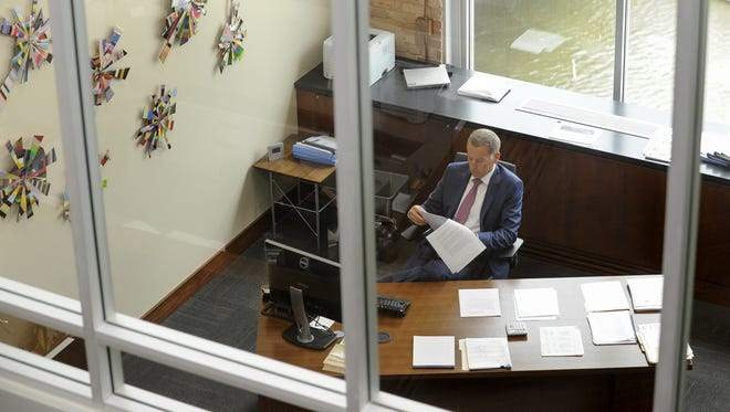 Dan Rykhus, president and CEO, works in his office at Raven Industries.   Emily Spartz / Argus Leader Dan Rykhus, president and CEO, works in his office at Raven Industries in Sioux Falls, S.D. Thursday, May 1, 2014.