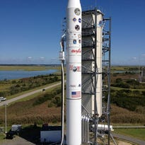 An Antares rocket launches with a Cygnus spacecraft on board at NASA's Wallops Flight Facility on July 13, 2014.