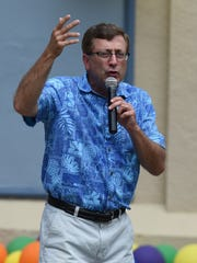 Former Sioux Falls Mayor Mike Huether speaks during Sioux Falls Pride in 2016.