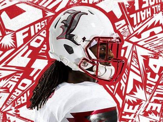 "Profile look at Louisville Old English ""L"" helmet design"
