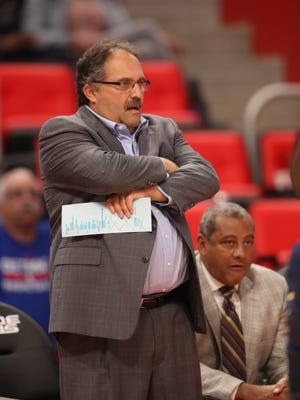 Pistons coach Stan Van Gundy on the bench during the first period of the 107-97 exhibition win over the Pacers on Monday, Oct. 9, 2017, at Little Caesars Arena.