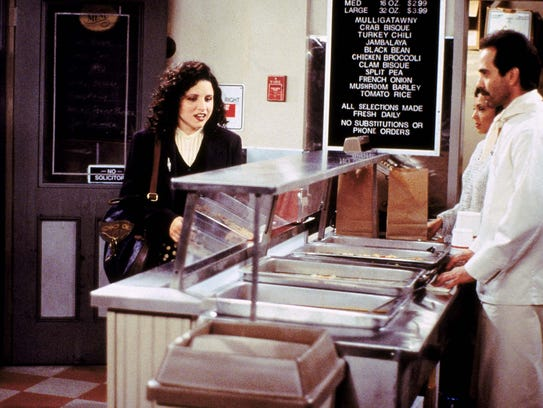 "Julia Louis-Dreyfus in a scene from Seinfeld's ""Soup"