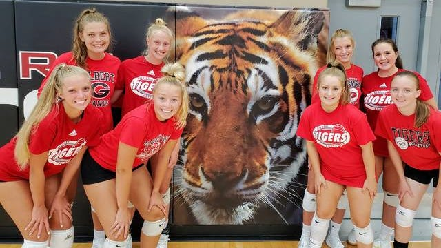 Seniors (clockwise from far left) Erin Baithe, Thea Rotto, Nessa Johnson, Taylor Grinley, Halli Nissen, Emma Mostek and Jade Cichy will lead the Gilbert volleyball team into its first season of Raccoon River Conference competition this fall. Joe Randleman/Ames Tribune