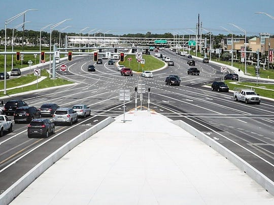 A diverging diamond intersection in Sarasota at University Parkway and I-75 was the first one built in the state.  The Florida Department of Transportation and Lee County could consider a similar configuration for I-75 and Daniels Parkway.  It uses traffic signals to move the flow of traffic form one side of the road to the other, similar to the continuous flow intersection being built at Daniels, Gunnery Road and the rebuilt State Road  82.