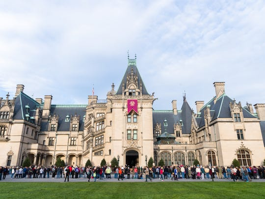 Guests at the Biltmore estate wait for the Christmas