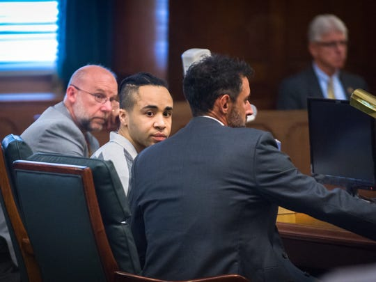 Pierre Lamont Griffin sits with his attorneys in Buncombe County Superior Court where he will plead guilty to three counts of first-degree murder and other charges that include destroying a body or remains concealing an unnatural death and robbery with a dangerous weapon, avoiding the death penalty, Monday, November 6, 2017. Griffin is accused of shooting 20-year-old Tatianna Diz, 22-year-old Alexandra King and 31-year-old Uhon Trumanne Johnson in October 2015.