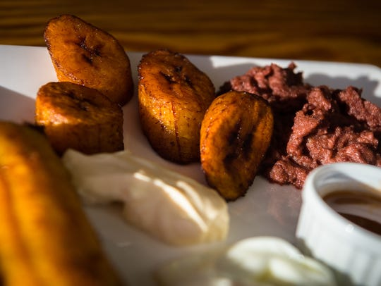 Plantains served with Desayuno Salvadoreño, which translates