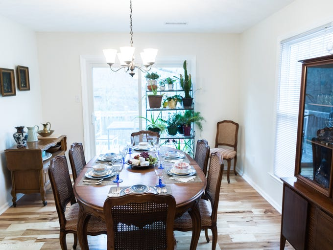 The dining room in the home of Davida Falk and Grace