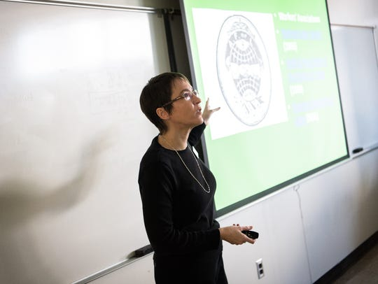 April Birchfield, a professor at Asheville-Buncombe Technical Community College, teaches her world civilizations class at the school's main campus Thursday.