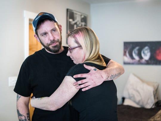 Brian Shepherd, boyfriend of Hope Bishop embraces her