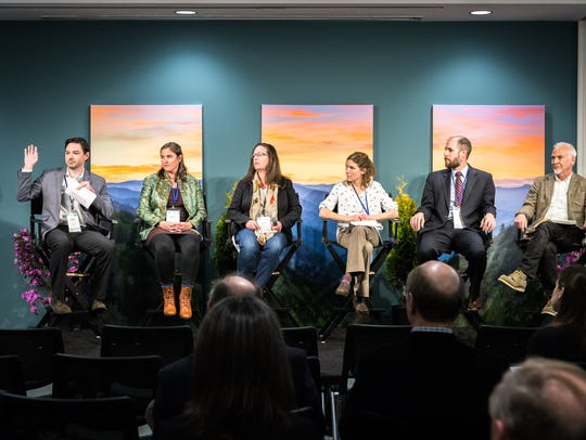 Kevin Taylor, the Senior Program Officer at World Wildlife Fund, leads the We Are Still In regional panel at the 2018 Climate Con held March 21 at the Collider in Asheville.