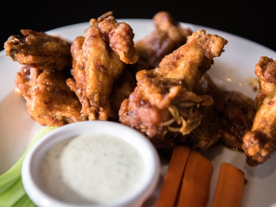 Wings served at the Malvern on Patton Avenue in Asheville.