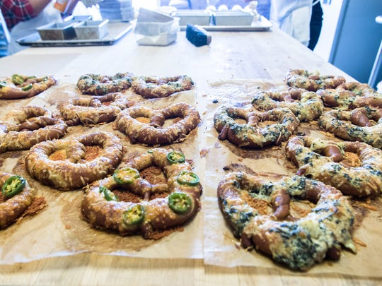 Pretzels fresh out of the oven at Hendersonville's Underground Baking Company.