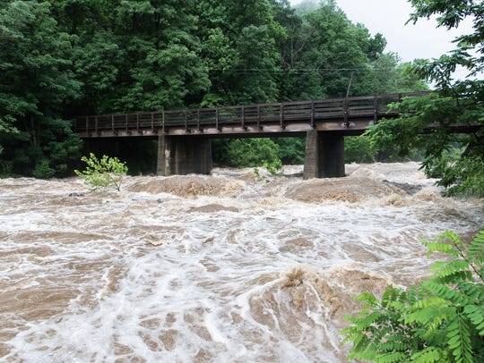 The Rocky Broad River in Chimney Rock, flooded during