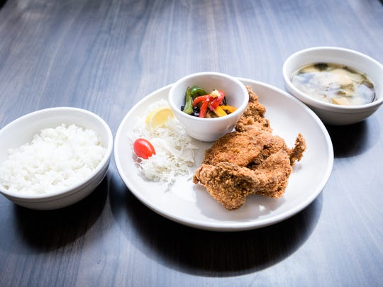 Chicken katsu combo with white rice and miso shiru served at WakuWaku Japanese Eatery on Merrimon Avenue in Asheville.
