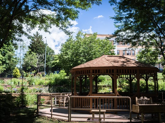 The courtyard at the Community Living Center at the