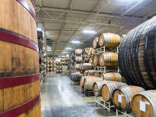 Barrels at Wicked Weed brewing's headquarters.