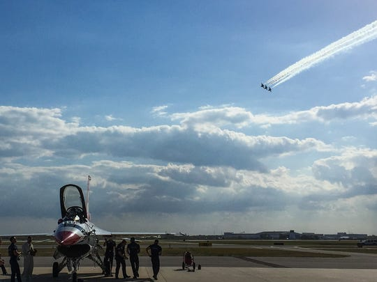 The U.S. Air Force Thunderbirds arrived Thursday at Orlando Melbourne International Airport.