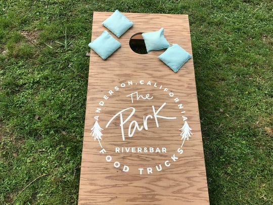 Cornhole was one of the games played at a food truck