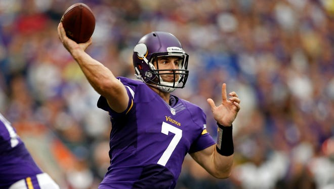 Christian Ponder has been limited in practice this week after suffering a rib injury vs. the Browns on Sunday.