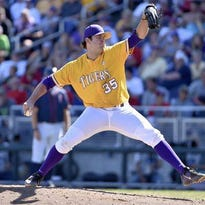 LSU pitcher Alex Lange works was a hard-luck losing pitcher for the Tigers on Saturday.