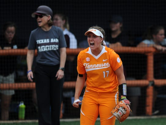 Tennessee's Chelsea Seggern, shown celebrating a strikeout last season during an NCAA Super Regional game, is applying the lessons learned in a leadership class to her role as one of the Lady Vols' softball captains.