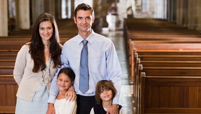 Family in church.