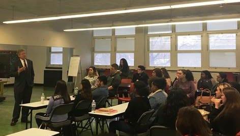 U.S. Rep. Frank Pallone Jr. talks to students about gun violence Tuesday at Woodbridge High School.