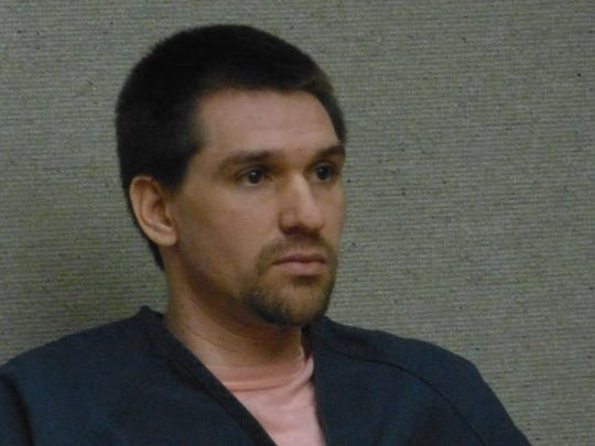 Joshua Edward Hoffman sits in a Shasta County courtroom.