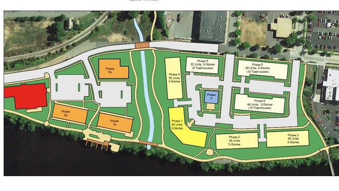 Above are the site plans for the River East Village, from Iowa-based Franz Community Investors.