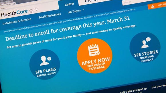 This image taken March 31, 2014 in Washington, DC shows the home page for the HealthCare.gov internet site. Today is the deadline day for uninsured Americans to sign up for coverage through US President Barack Obama's signature healthcare law, the Affordable Care Act.