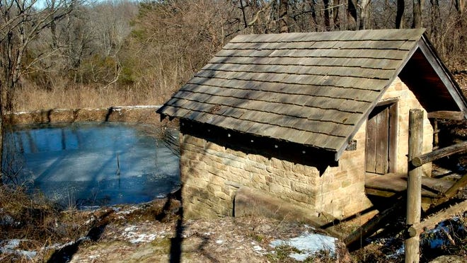 A spring house on the grounds of Blackacre State Nature Preserve.