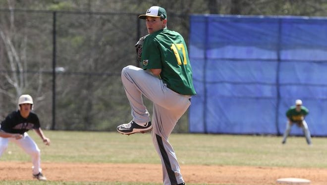 Lakeland's Rich Vetrano delivers a pitch to a John Jay batter at John Jay High School's field in Cross River, N.Y. on Saturday, Apr. 11, 2015.