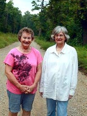 Annamae Lawson Freeman and Mary Jones at the old cemetery.